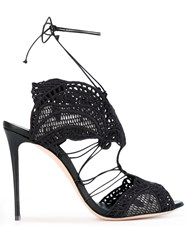 Casadei Cut Out Heeled Sandals Women Cotton Leather 39 Black