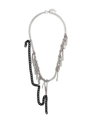 Maison Martin Margiela Mm6 Knotted Chain Necklace Silver