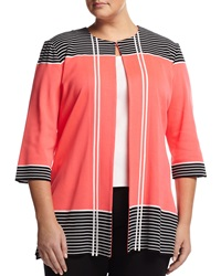 Ming Wang Striped Trim 3 4 Sleeve Jacket Coral Black White