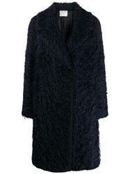 Forte Forte Textured Single Breasted Coat Blue