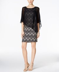 Connected Lace Cold Shoulder Cape Dress Black Gold