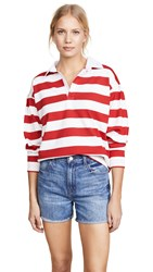 Evidnt Rugby Top White Red Stripes