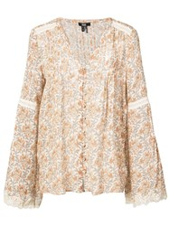 Paige Floral Long Sleeve Blouse Nude And Neutrals