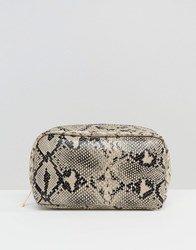 New Look Large Curve Snake Effect Make Up Bag White