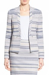 Women's Halogen Zip Pocket Tweed Open Front Jacket Blue Aztec Tweed