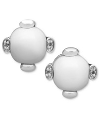 Macy's Sterling Silver Earrings White Agate 9Mm And White Topaz Accent Stud Earrings