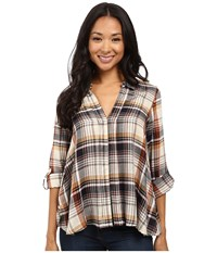 B Collection By Bobeau Maisie Hidden Placket Woven Blouse Spice Plaid Women's Blouse Beige