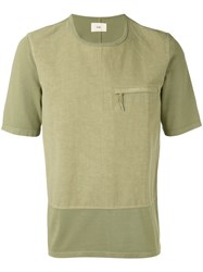 Folk Zipped Pocket T Shirt Men Cotton 2 Green