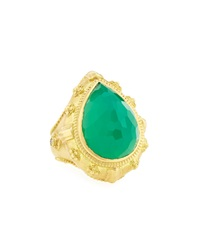 Armenta Pear Cut Green Onyx Ring W Diamonds Size 6.5