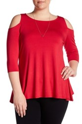 Chelsea And Theodore Cold Shoulder Swing Shirt Plus Size Red