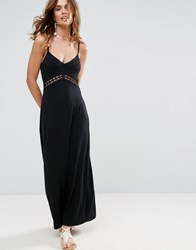 Asos Maxi Sundress With Lace Insert Black