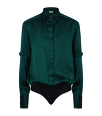 Alix Mercier Silk Satin Blouse Bodysuit Female Green