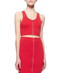 T By Alexander Wang Sleeveless Ribbed Zip Front Cropped Top Women's