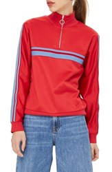 Topshop Sporty Track Top Red Multi
