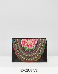 Reclaimed Vintage Flower Embroidered Clutch Bag Black