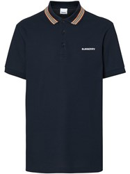 Burberry Icon Stripe Detail Polo Shirt Blue