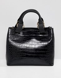 Asos Design Croc Extended Handle Tote Bag Black