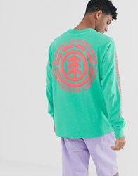 Element Chrome Long Sleeve Top With Sleeve Print In Green