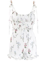 For Love And Lemons Floral Print Playsuit White