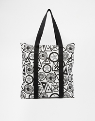 Asos Canvas Shopper Bag With Backpack Strap In Solstice Print Multi