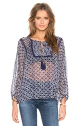 Twelfth St. By Cynthia Vincent Tie Front Peasant Top Blue