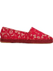 Dolce And Gabbana Lace Espadrilles Red