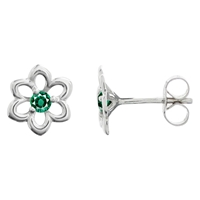 Nina B 9Ct White Gold Flower Emerald Stud Earrings White Green