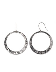Lord And Taylor Sterling Silver Large Hammered Hoop Earrings