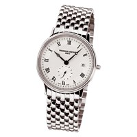 Frederique Constant Fc 245M4s6b Men's Slim Line Stainless Steel Bracelet Strap Watch Silver White