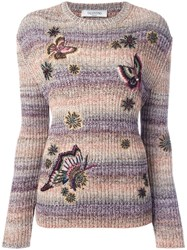 Valentino Butterfly Embroidery Jumper Nude Neutrals