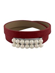 Majorica New Isla 6Mm White Pearl And Leather Bracelet Red