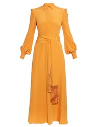 Hillier Bartley Tassel Tie Silk Crepe Dress Orange