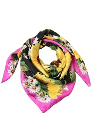 Dolce And Gabbana Sunflower Chains Printed Silk Scarf