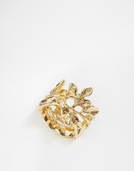 Paper Dolls Flower Wrap Around Ring Gold