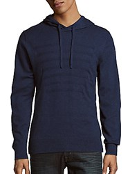 Saks Fifth Avenue Red Cotton Blend Sweater Hoodie Heather Navy