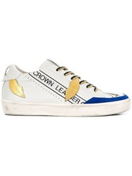 Leather Crown Kiss Low Top Sneakers White