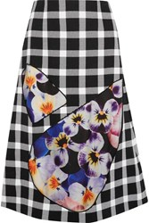 Christopher Kane Tulle Paneled Gingham Wool Blend Skirt Black