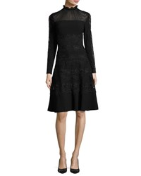 Elie Tahari Cora Ruffle Collar Embroidered A Line Dress Black