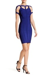 Wow Couture Strap Embellished Dress Blue
