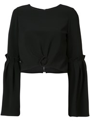 Christian Siriano Cropped Knot Detail Top Women Polyester Polyurethane Silk Crepe 6 Black