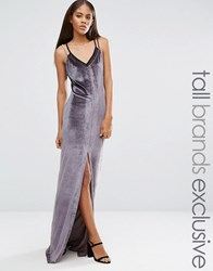 Naanaa Tall Strappy Double Layer Maxi Dress Charcoal Grey