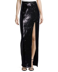 Halston Heritage Long Sequined Skirt W High Slit