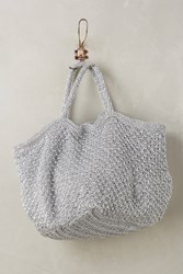 Anthropologie Crocheted Metallic Tote Silver