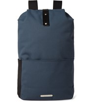 Brooks England Dalston Medium Leather Trimmed Canvas Backpack Storm Blue