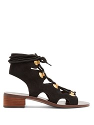 See By Chloe Lace Up Block Heel Suede Sandals Black