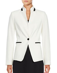 Karl Lagerfeld One Button Stand Collar Jacket Creme