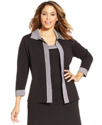 Jones New York Collection Plus Size Striped Cardigan