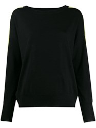 Patrizia Pepe Boat Neck Sweater Black