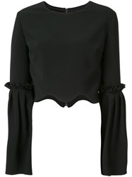 Christian Siriano Scalloped Cropped Blouse Women Polyester Polyurethane Silk Crepe 2 Black