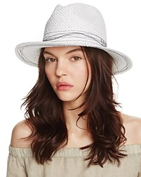 Aqua Straw Fedora With Contrast Stitching 100 Exclusive White Navy